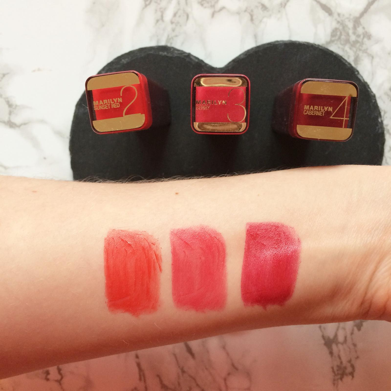 maxfactor marilyn lipsticks swatches