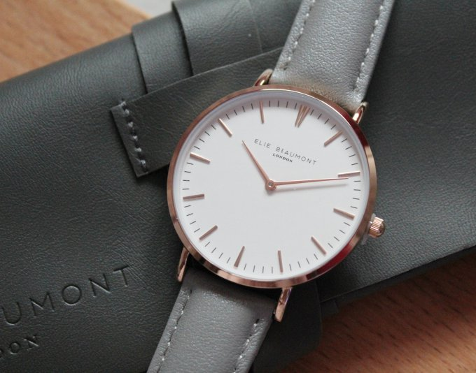 Elie Beaumont London Rose Gold White and Grey Watch