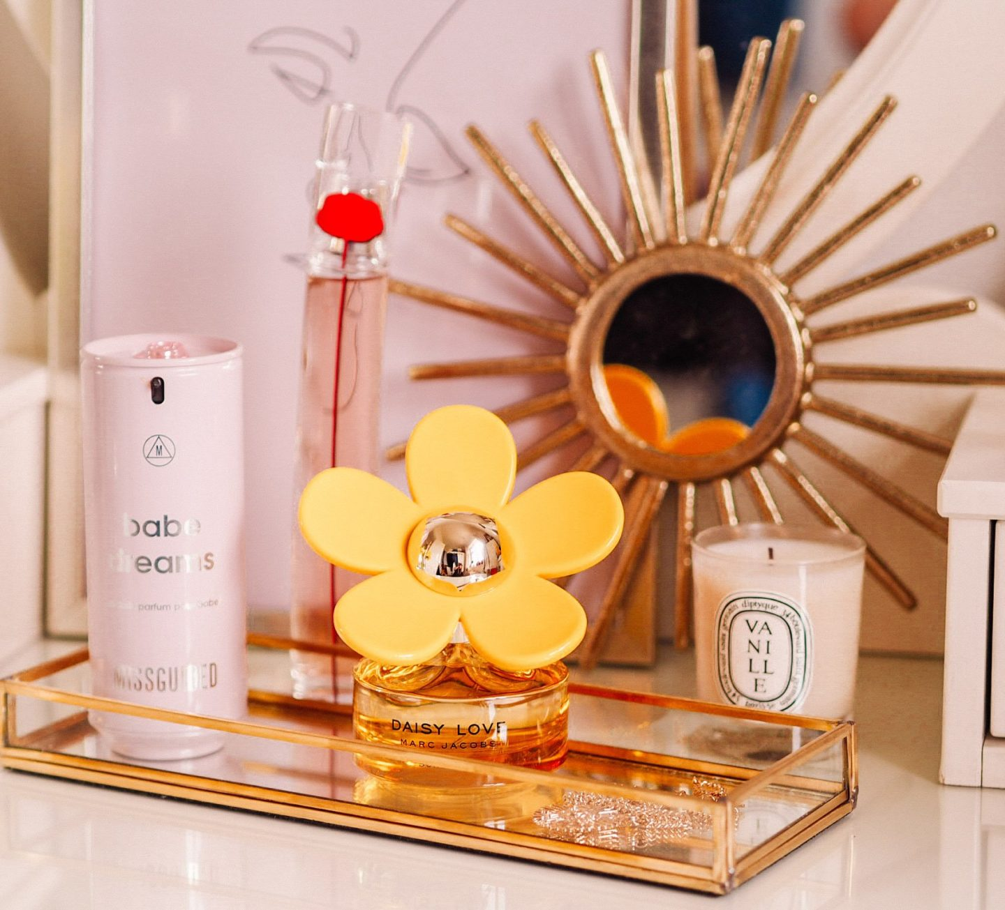 Missguided babe dreams perfume, Marc Jacobs Daisy Love Sunshine, Flower by Kenzo