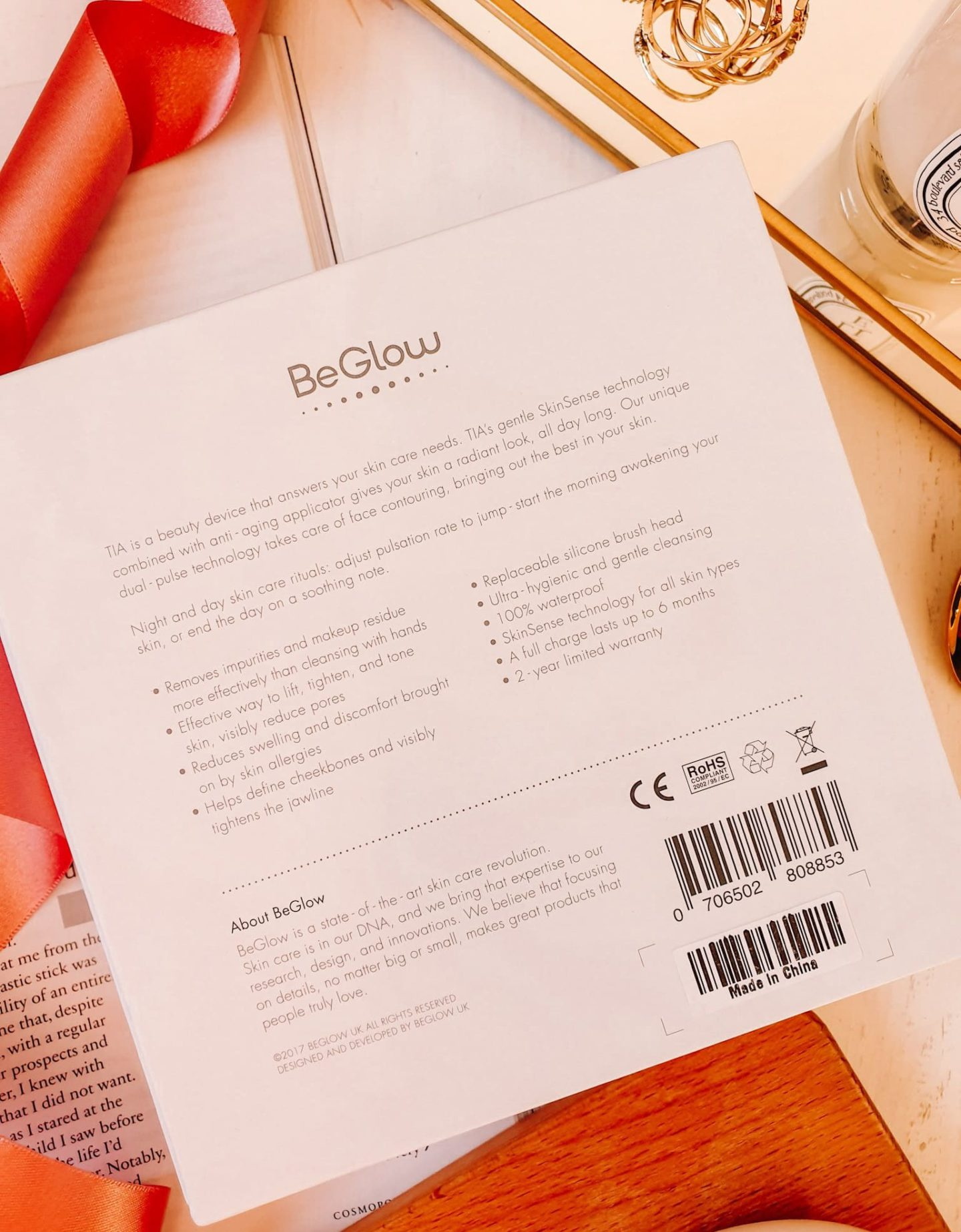 BeGlow TIA All-In-One Sonic Skin Care System Packaging