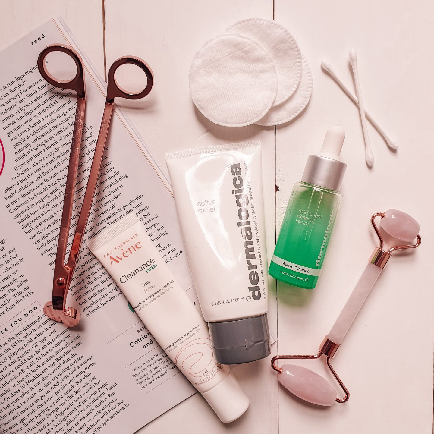 Dermalogica Active Moist Moisturiser and Avène Cleanance Expert Lotion and Dermalogica Age Bright Clearing Serum