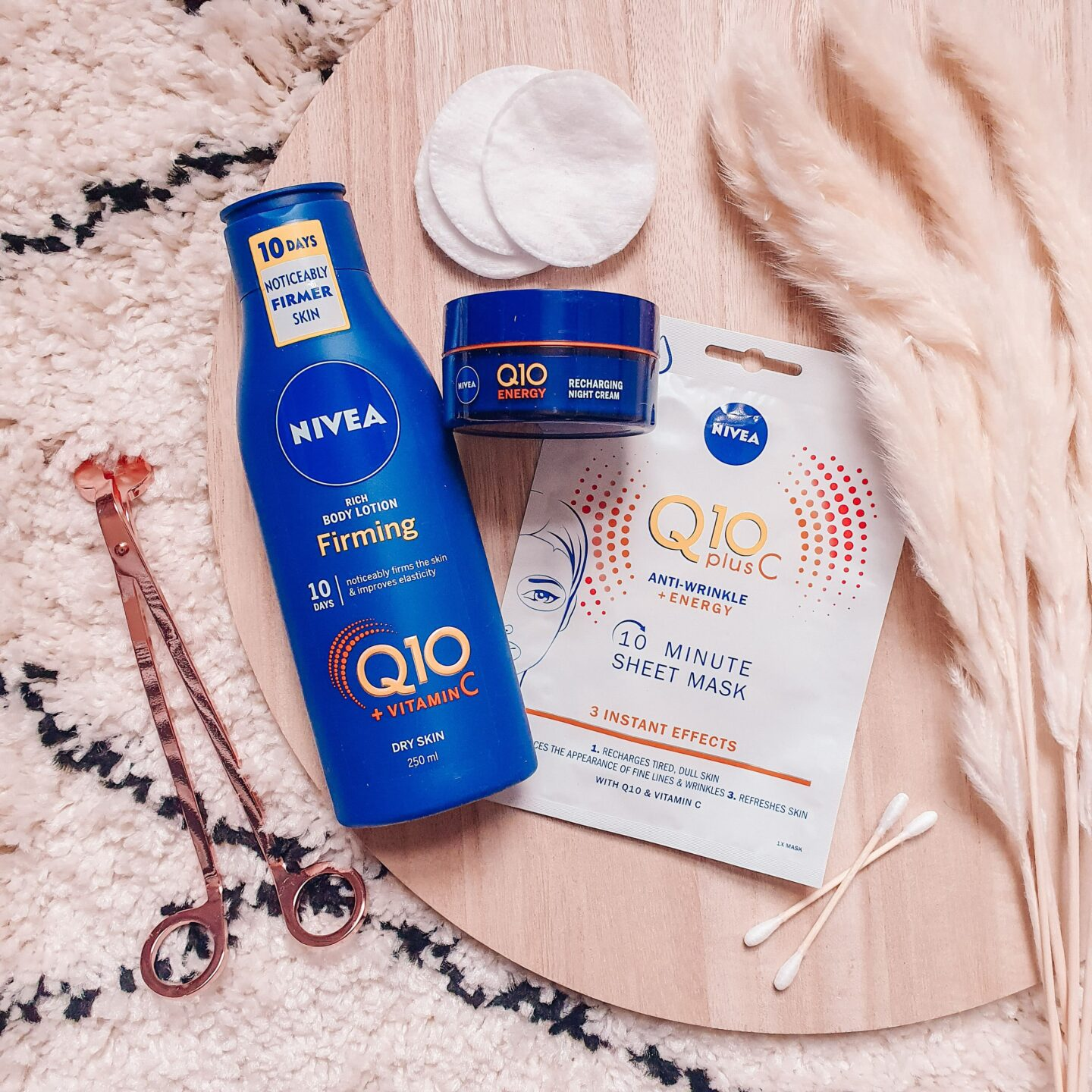 Nivea Q10 plus Vitamin C 10 Minute Sheet Mask and Firming Body Lotion for Dry Skin and Recharging Face Night Cream